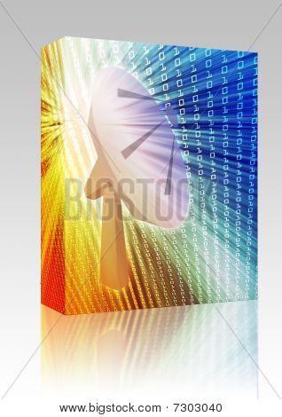 Satellite Dish Telecommunications Illustration Box Package