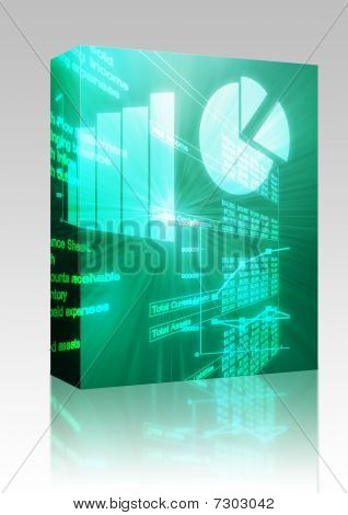Spreadsheet Business Charts Illustration Box Package