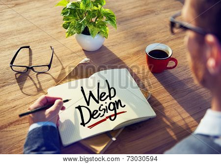 Man with a Note and a Single Word Web Design