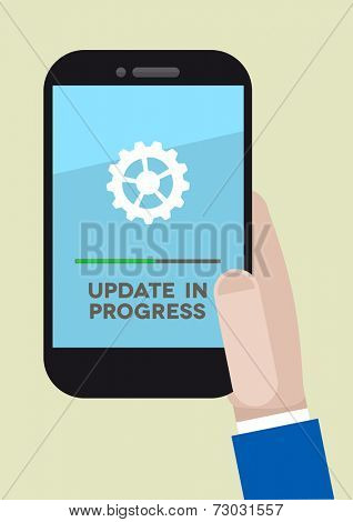 minimalistic illustration of a hand holding a mobile phone with update screen, eps10 vector