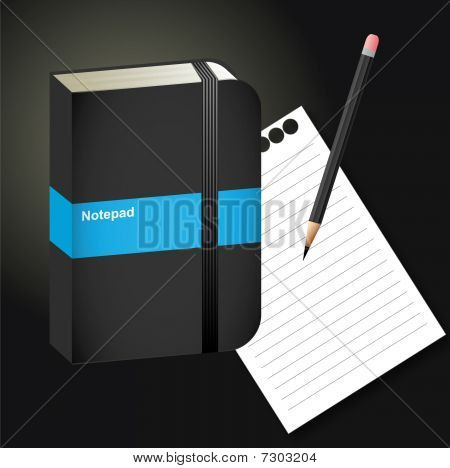 Notepad, paper, pencil