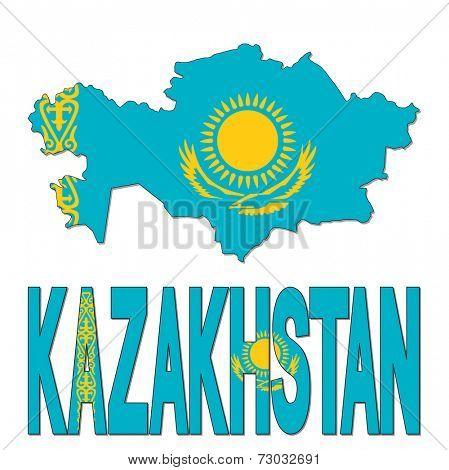 Kazakhstan map flag and text vector illustration