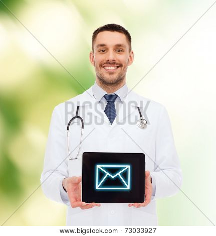 medicine, profession, and healthcare concept - smiling male doctor with tablet pc computer and stethoscope