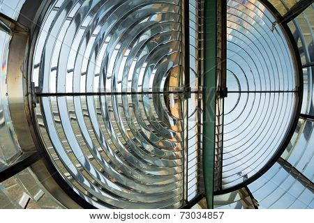 Huge Fresnel lens of the Creach lighthouse in Ushant island, the most powerful in the world, Brittany, France