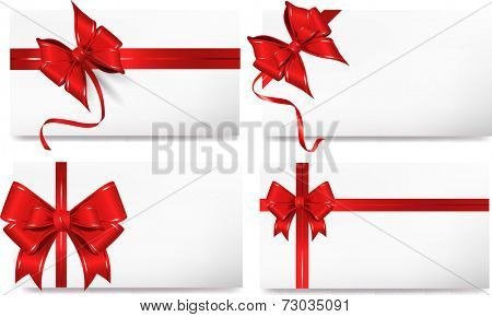 Set of cards with red gift bows.