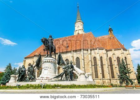 Cluj-Napoca, Romania. Church of Saint Michael is a Gothic-style Roman Catholic cathedral in Cluj, second largest church in Transylvania, Romania, completed in 1442-1447.
