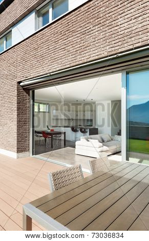 Architecture, modern house, outdoor, view from veranda