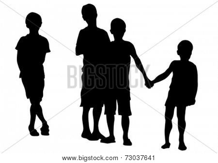 Silhouettes of young children on a white background