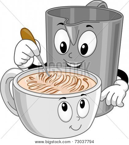 Mascot Illustration Featuring a Pitcher Making Latte Art