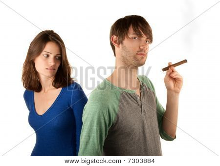 Woman Reacts To Man With Cigar