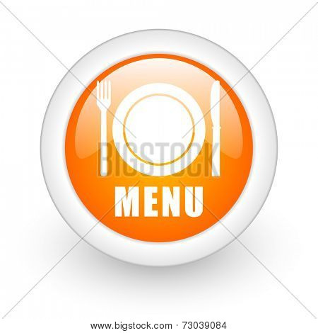 menu orange glossy web icon on white background