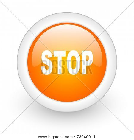 stop orange glossy web icon on white background