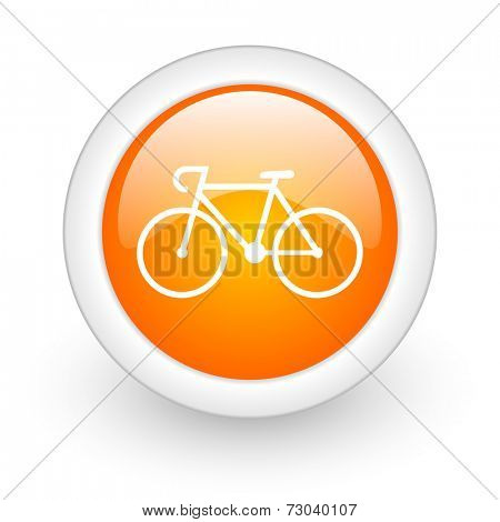 bicycle orange glossy web icon on white background