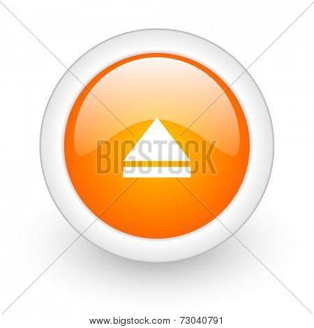 eject orange glossy web icon on white background