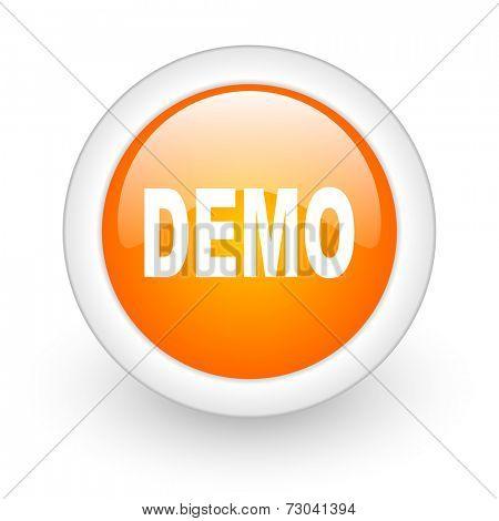 demo orange glossy web icon on white background