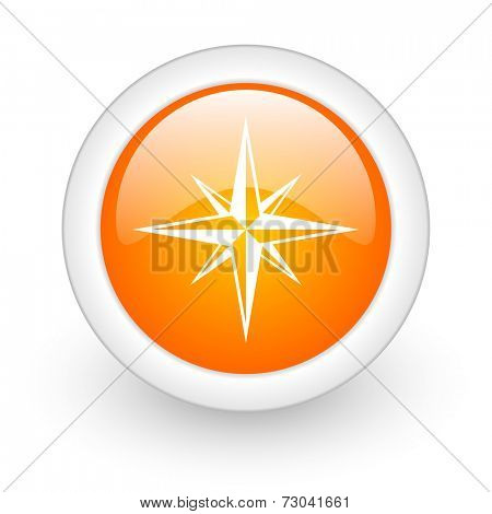 compass orange glossy web icon on white background