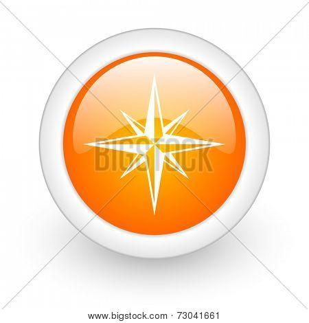 compass orange glossy web icon on white background