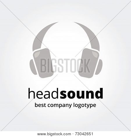 Abstract vector  head phones logotype concept isolated on white background.
