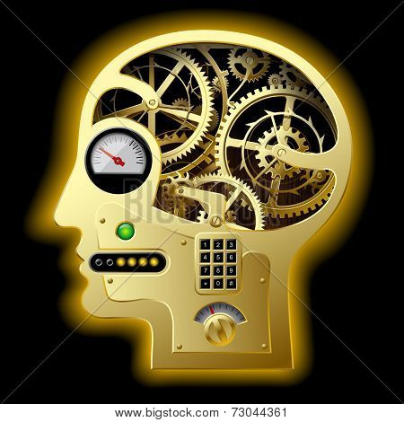 Human mechanical gold head half face with brain gears and other equipment. Business concepts. Concept of human thinking