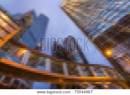 Mosaic city scenery of Hong Kong, concept of urban background.