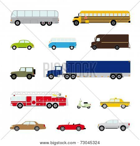 Transportation and Automotive Symbol Vector Set. Collection of thirteen motor vehicle icons, flat design