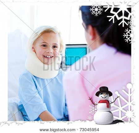 Adorable little girl with a neck brace talking with a nurse against christmas themed frame