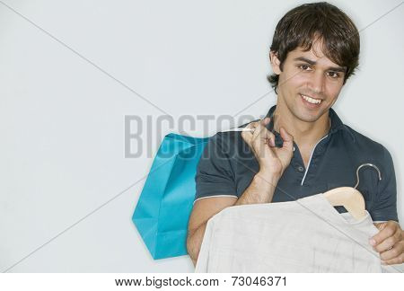 Portrait of man shopping