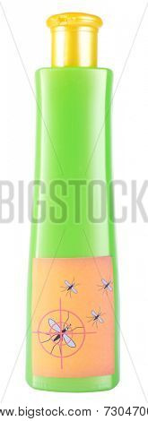 Bottle with mosquito repellent cream isolated on white