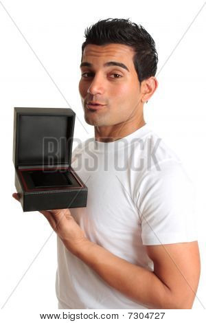 Man Holding Open Gift Box Jewelry Case