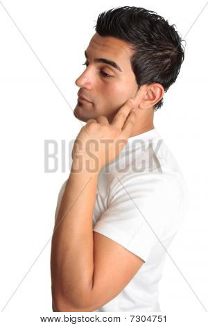 Thinking Melancholy Man