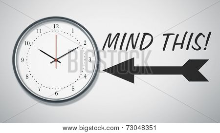 A clock at the wall with text mind this