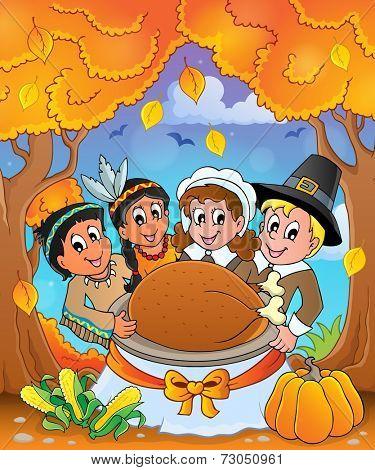 Thanksgiving pilgrim theme 6 - eps10 vector illustration.