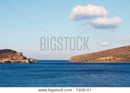View Of Spinalonga Island, A Venetian Fortress In Crete.