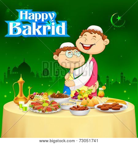 illustration of people hugging and wishing Happy Bakrid