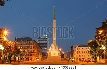 RIGA, LATVIA- SEPTEMBER 18, 2014: Freedom Monument known as Milda. Located in the centre of Riga, Latvia on september 18, 2014. Riga is European Capital of Culture 2014.