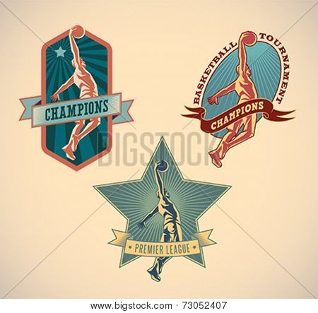 Set of retro styled basketball tournament labels. Editable vector illustration.