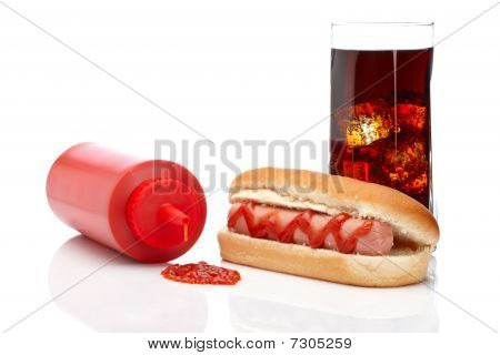 Hot Dog And Cola Glass