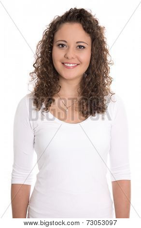 Beautiful isolated young woman with natural curls.