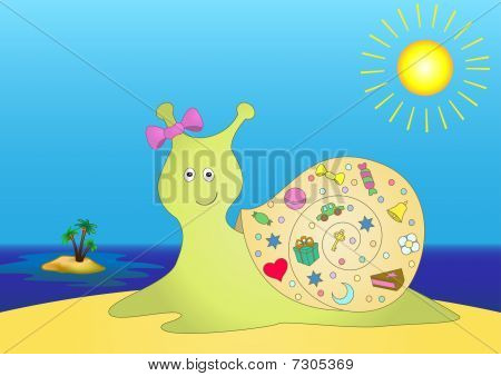 Snail With Gifts On Island