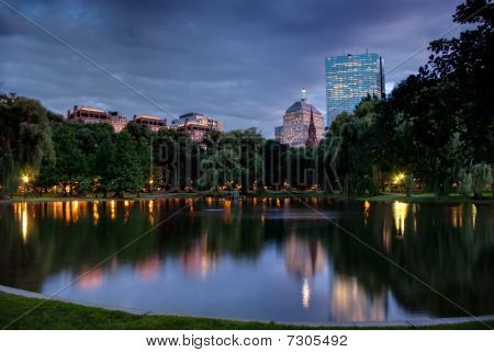 Sunset Across the Boston Public Gardens in HDR