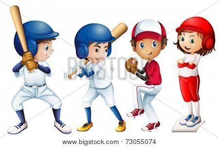 Illustration of a team of baseball