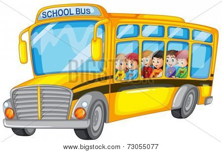 Illustration of many children on a school bus