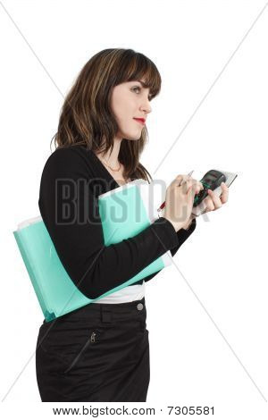 Businesswoman  With Documents  And Calculator