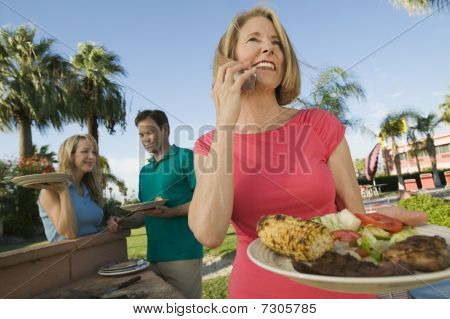 family outdoor barbecue