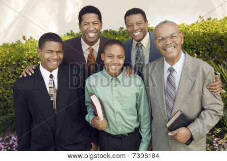 Group of ethnic male churchgoers front veiw portrait
