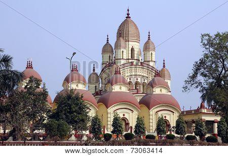 KOLKATA, INDIA - FEB 14: Dakshineswar Kali Temple in Kolkata on February 14, 2014. The beautiful temple was built in Bengal architecture style in 1855