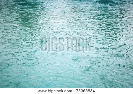 Raindrops at a water surface