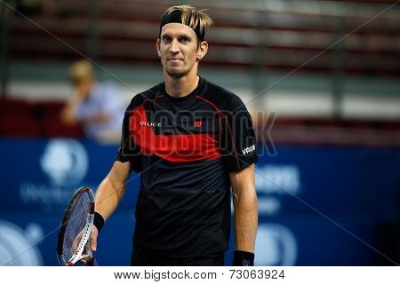 SEPTEMBER 25, 2014 - KUALA LUMPUR, MALAYSIA: Jarkko Nieminen of Finland reacts after winning a point in his match at the Malaysian Open Tennis 2014. This is an ATP sanctioned tournament.