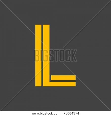 Letter L vector alphabet impossible shape.  ABC concept type as logo. Typography design