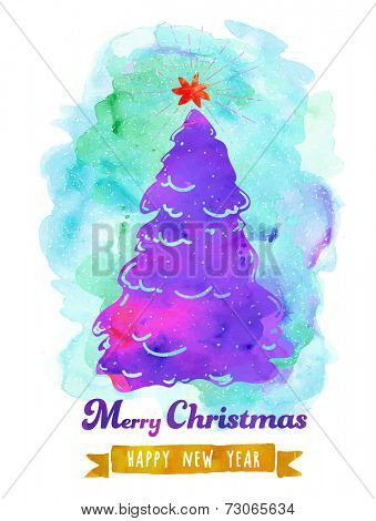 Watercolor Christmas Poster - Christmas tree with star topper on painted background, painted effect, watercolor vector